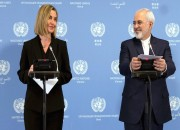 Zarif, Mogherini read joint statement to declare start of JCPOA